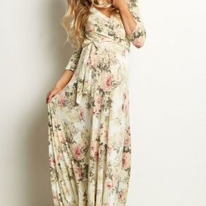 Ivory Floral Maternity Wrap Maxi Dress